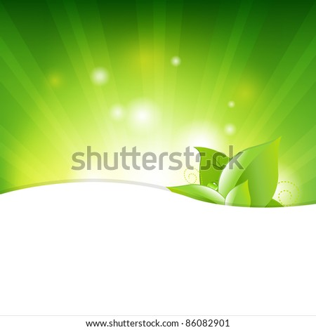 Green Background With Beams And Leaves