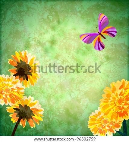 green background with yellow flowers and butterfly