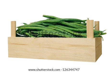 green bean in crate isolated on white