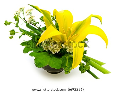 green bouquet with yellow lily over white background