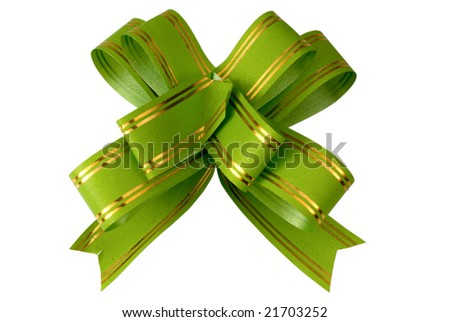 green bow on a white background is isolated