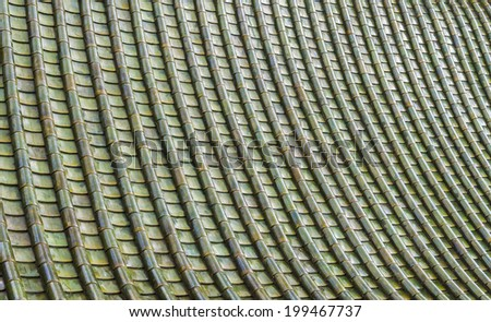 Green ceramic roof pattern