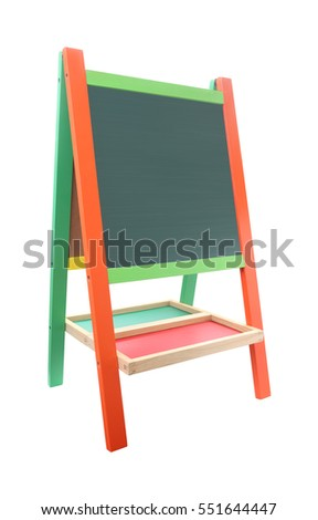 Green chalkboard with color frame on white background.
