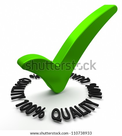 Green check mark with 3D text. Part of a series.