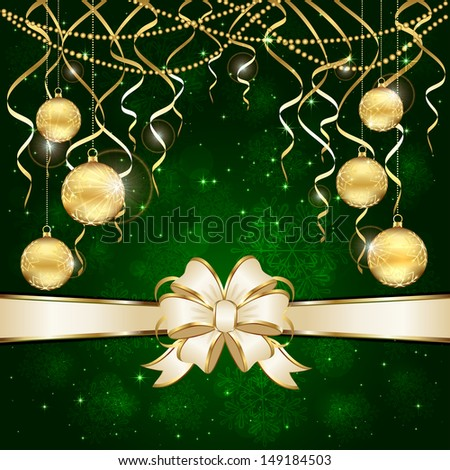 Green Christmas background with golden baubles and beige bow, illustration.