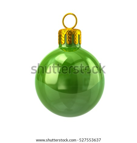 Green christmas ball 3d rendering on white background