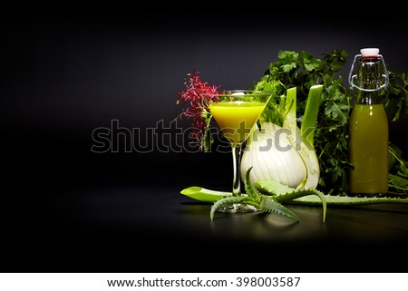 Green cocktail isolated on black, Detox concept