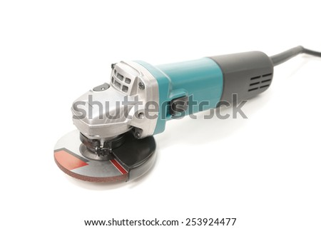 Green color electrical metal grinder over white background