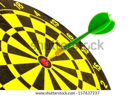 Green Dart In A Dartboard On White Background