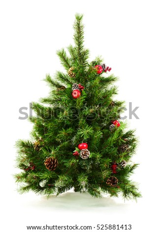 Green Decorated Christmas Tree Isolated on White Background. Closeup