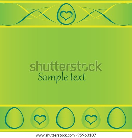 green easter card with eggs and space for text.