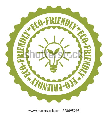 Green Eco-Friendly Stamp, Badge, Icon, Label or Sticker Isolated on White Background