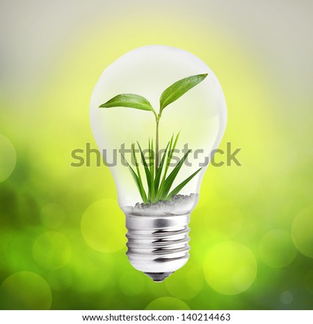 Green eco lightbulb with bokeh effect