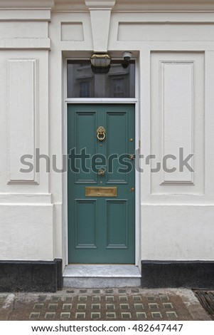 Green Entrance Door at Victorian Residential House