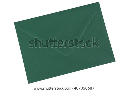 Green envelope isolated on a white background