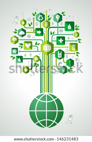Green environment flat icons set tree over the world.