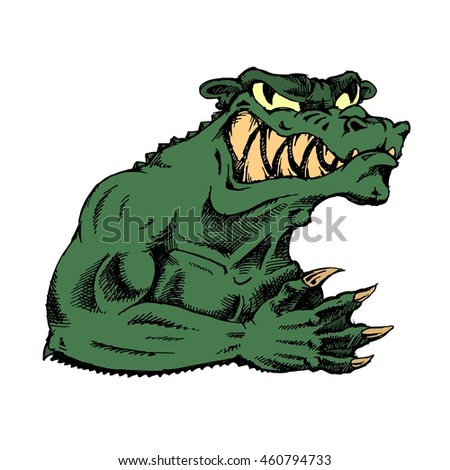Green evil monster over white background. Hand drawn stock illustration. Colored image