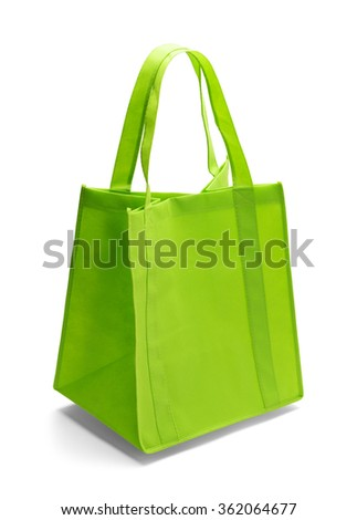 Green Fabric Shopping Bag Isolated on a White Background.