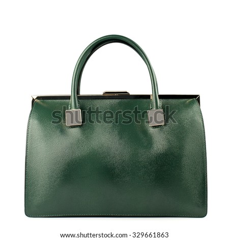 Green female leather bag isolated on white background.