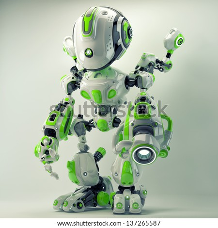 Green futuristic creature with gun and cute arm helpers. 3d render / Bright cyber toy