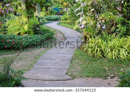 Green Garden, Landscaping In The Garden. The Path In The Garden.pathway In
