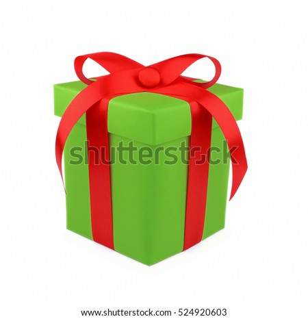 Green gift box with red ribbon and bow isolated on white background