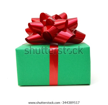 Green gift box with ribbon and bow isolated on the white background