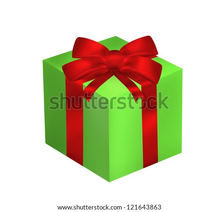 Green gift with red ribbon and bow isolated on the white background