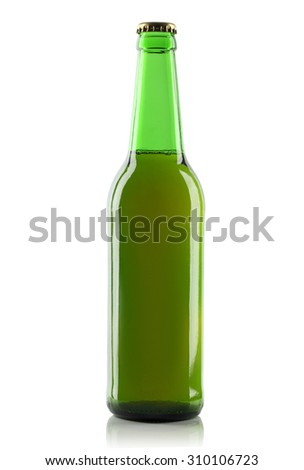 Green glass bottle of beer on a white background.