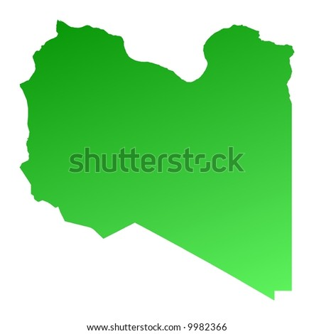 Green gradient Libya map. Detailed, Mercator projection.