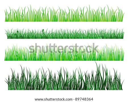 Green grass and field elements isolated on white background. Vector version also available in gallery