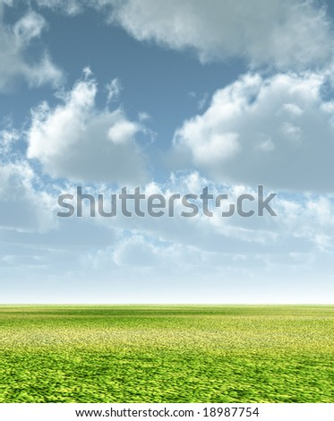 Green grass and sky with fluffy clouds
