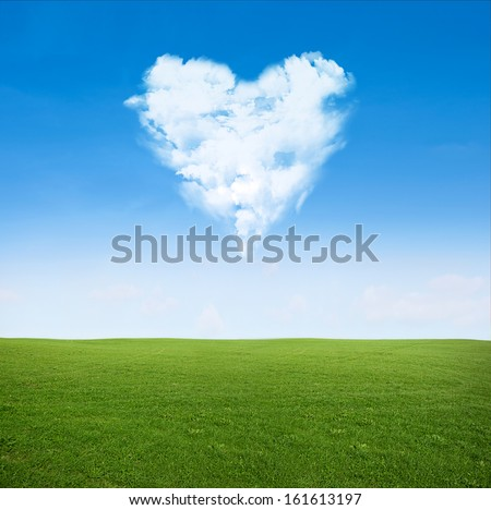 green grass field and blue sky with clouds in shape of heart - love concept