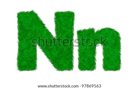 Green grass letter N n isolated on white background