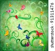 green grunge idea background with flourishes and butterflies easter or summertime theme - stock photo