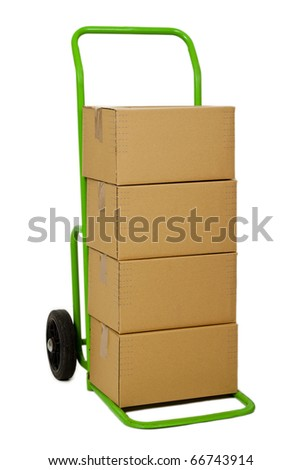 Green hand truck with four cardboard boxes on it ready for delivery