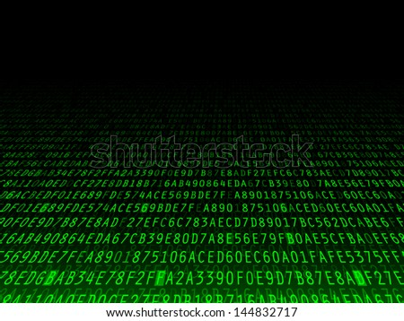 Green hexadecimal computer code fading background illustration