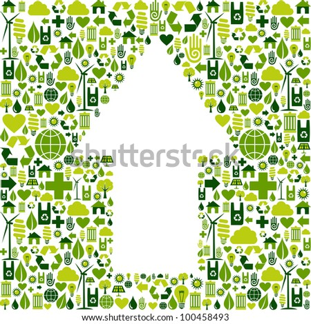 Green icons collection background in up arrow symbol.