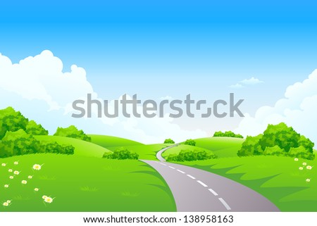 Green landscape with road trees and clouds