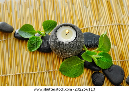 Green leaf and row of stone with candle mat texture
