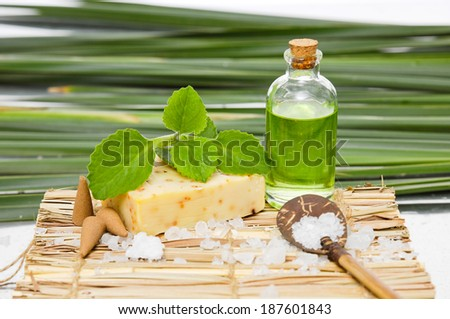 Green leaf background- soap and oil ,salt ,spoon on mat