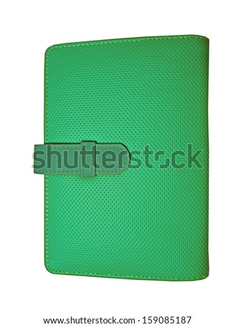 Green leather case note book isolated on white background