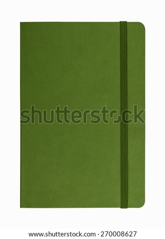 green leather notebook isolated on white background