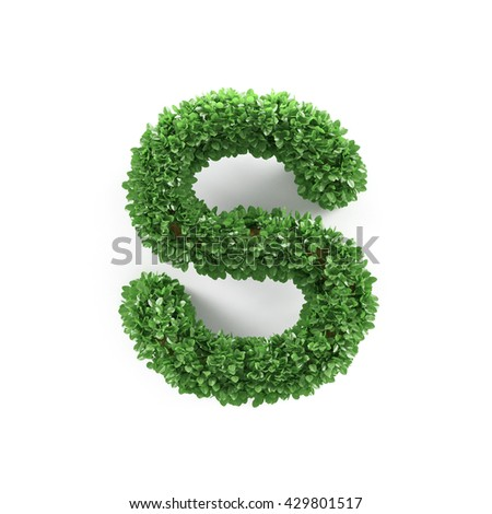 Green leaves S ecology letter alphabet font isolated on white background. 3d rendering