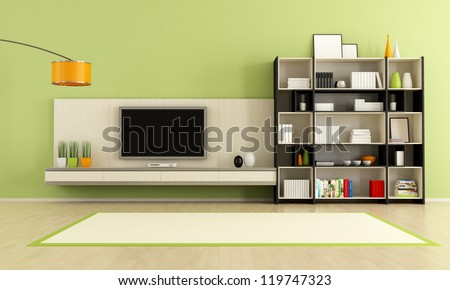 green  living room with tv stand and bookcase - rendering