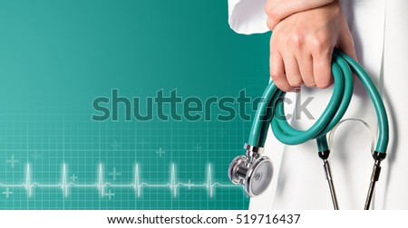 Green medical background with nurse and green stethoscope