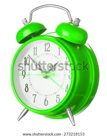 Green Old Style Alarm Clock Isolated On White
