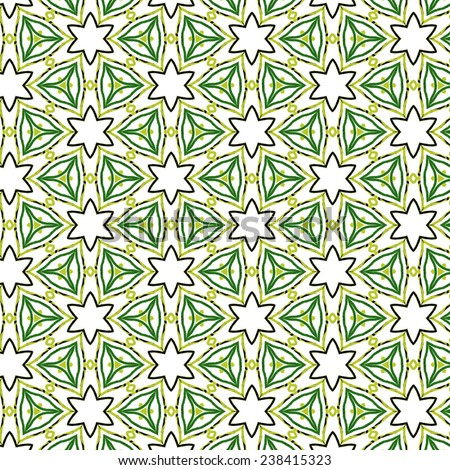 green on white geometrical painted seamless pattern