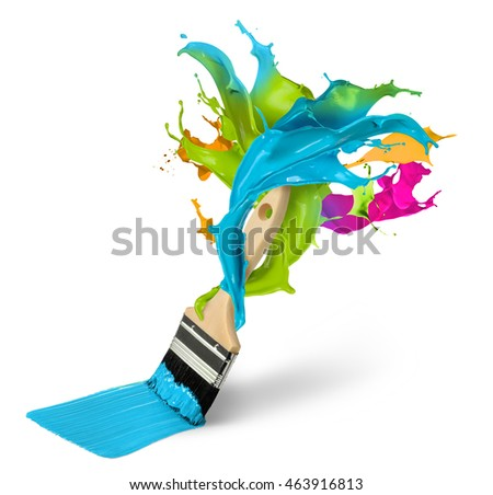 Green paint multi colour splash brush isolated home improvement concept