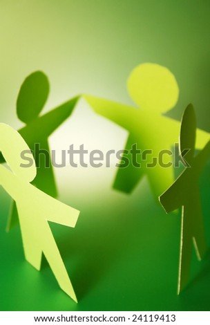 green paper cutouts